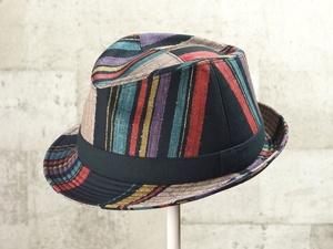 マルチストライプ中折れ帽子